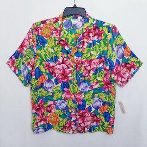Talbots Silk Floral Print Top - Size 14 - NWT